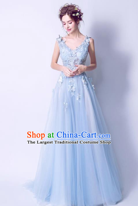 Handmade Blue Lace Formal Dress Compere Costume Catwalks Angel Evening Dress for Women
