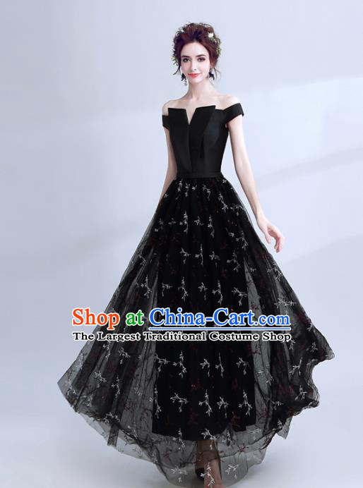 Handmade Black Evening Dress Compere Costume Catwalks Angel Full Dress for Women