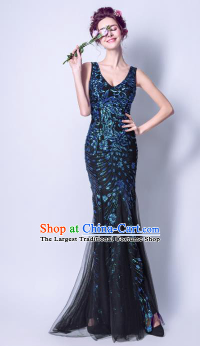 Top Grade Handmade Black Veil Formal Dress Compere Costume Catwalks Angel Evening Dress for Women