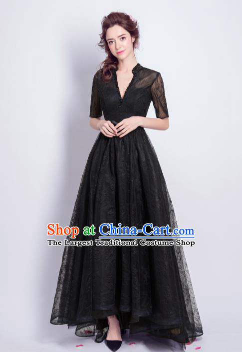 Top Grade Handmade Black Formal Dress Compere Costume Catwalks Angel Evening Dress for Women