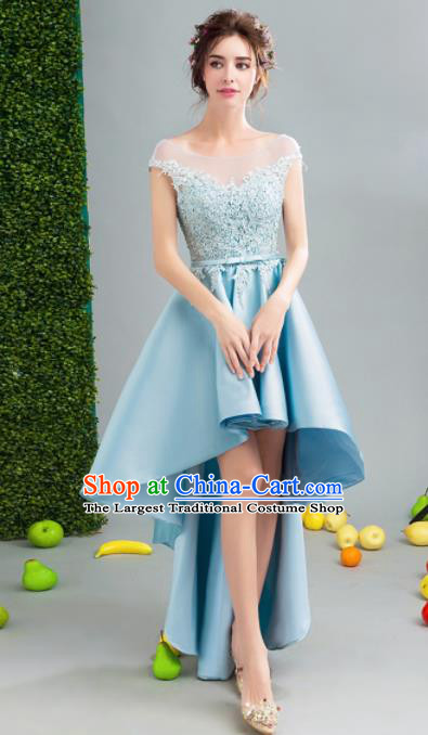 Top Grade Handmade Blue Short Formal Dress Compere Costume Catwalks Angel Evening Dress for Women