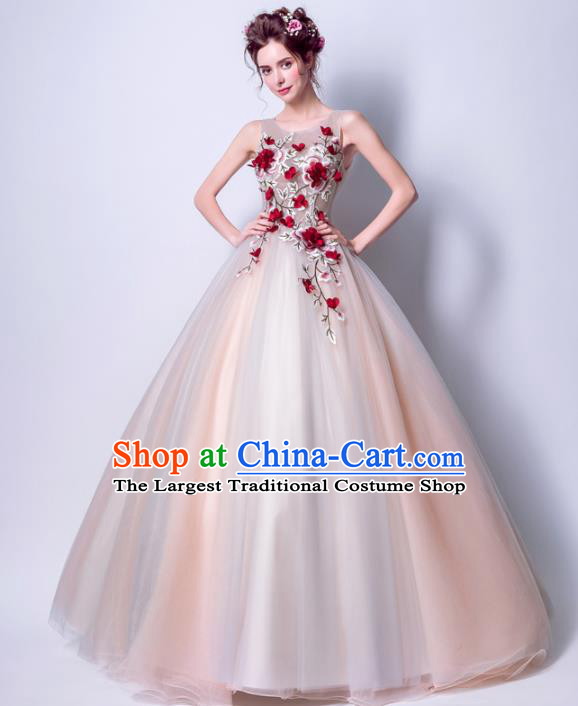 Handmade Bride Embroidered Flowers Wedding Dress Princess Costume Fancy Wedding Gown for Women