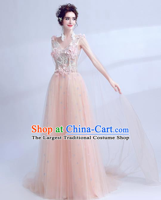Handmade Pink Veil Evening Dress Compere Costume Catwalks Angel Full Dress for Women