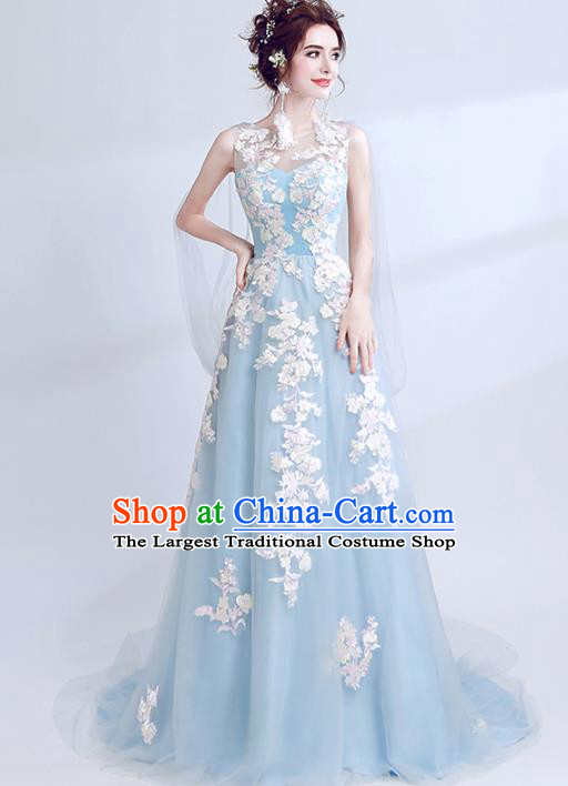 Handmade Blue Veil Embroidered Evening Dress Compere Costume Catwalks Angel Full Dress for Women