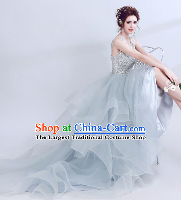 Handmade Embroidered Beads Evening Dress Compere Costume Catwalks Angel Full Dress for Women