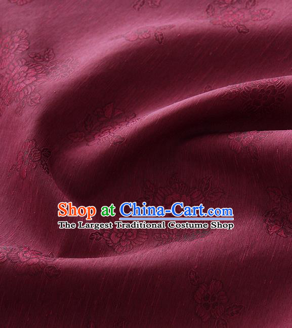Asian Korean Traditional Purplish Red Tough Silk Fabric Hanbok Silk Material