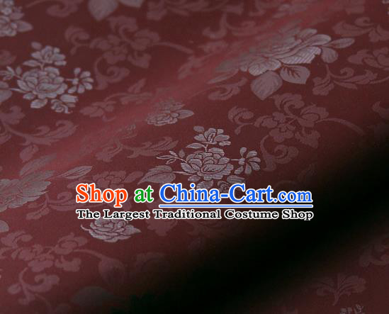 Asian Korean Ancient Costume Purplish Red Brocade Traditional Palace Pattern Satin Fabric Silk Fabric Material