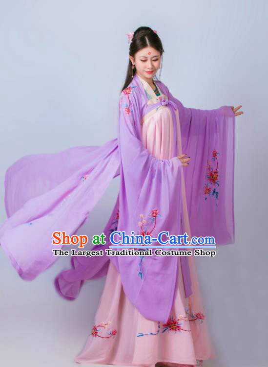 Chinese Traditional Tang Dynasty Embroidered Historical Costumes Ancient Princess Hanfu Dress for Women
