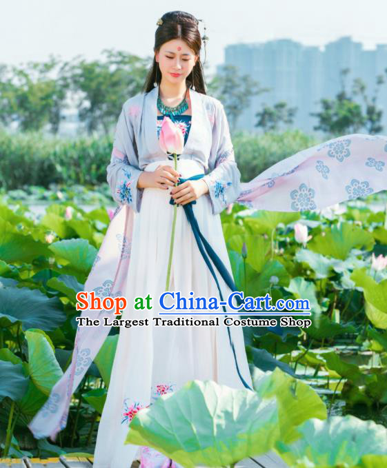 Chinese Traditional Tang Dynasty Historical Costumes Ancient Peri Nobility Lady White Hanfu Dress for Women