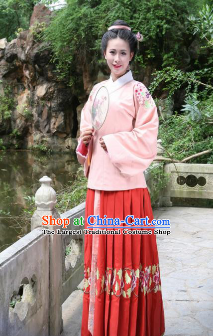 Traditional Chinese Ming Dynasty Historical Costumes Ancient Countess Hanfu Dress for Women
