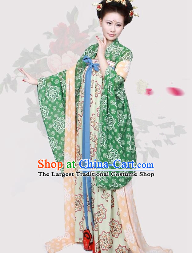 Chinese Ancient Tang Dynasty Historical Costumes Palace Lady Hanfu Dress for Women