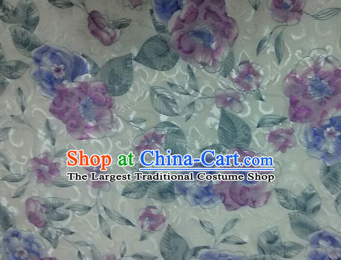 Chinese Traditional Apparel Fabric Qipao Brocade Classical Purple Flowers Pattern Design Silk Material Satin Drapery