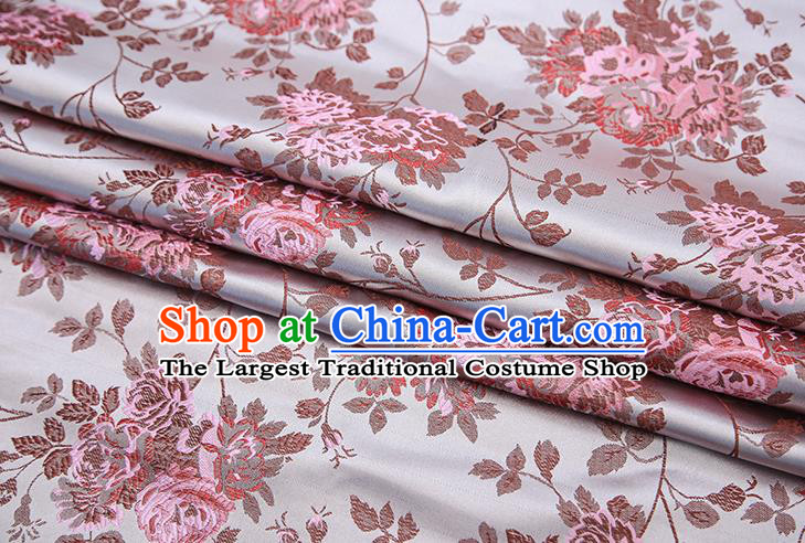 Chinese Traditional Satin Brocade Fabric Qipao Dress Classical Roses Pattern Design Material Drapery