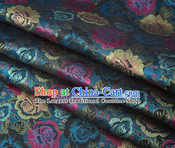 Chinese Traditional Jacquard Fabric Qipao Dress Lake Blue Brocade Classical Roses Pattern Design Satin Material Drapery