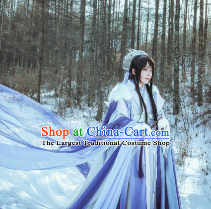 Asian Chinese Cosplay Swordsman Costumes Ancient Prince Clothing and Headpiece Complete Set