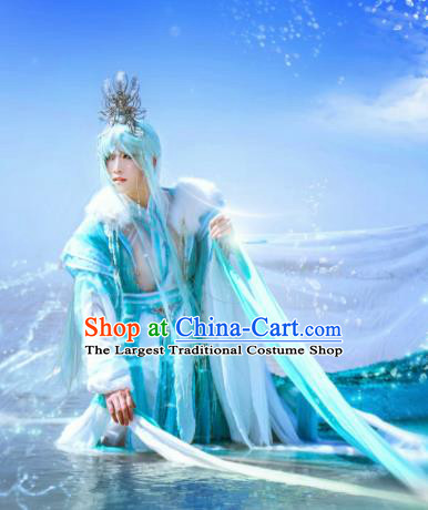 Traditional Chinese Cosplay Swordsman Blue Clothing Ancient Knight Embroidered Costumes and Headpiece Complete Set