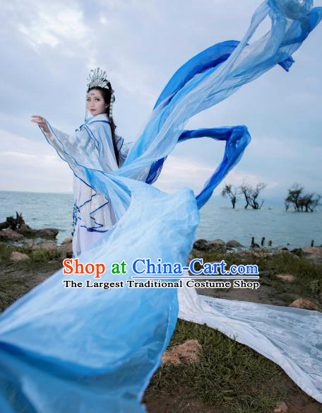 Traditional Chinese Cosplay Peri Goddess Clothing Ancient Swordswoman Embroidered Costumes and Headpiece Complete Set