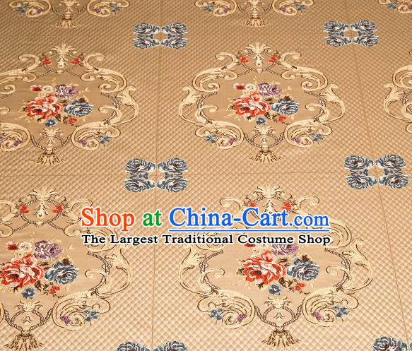 Top Grade Classical Fleur Bouquet Pattern Golden Brocade Chinese Traditional Garment Fabric Cushion Satin Material Drapery