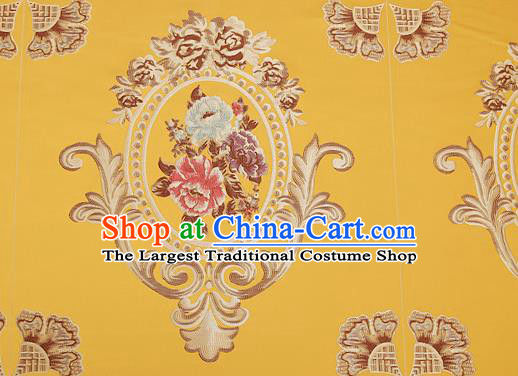 Top Grade Classical Flocked Peony Pattern Yellow Brocade Chinese Traditional Garment Fabric Cushion Satin Material Drapery