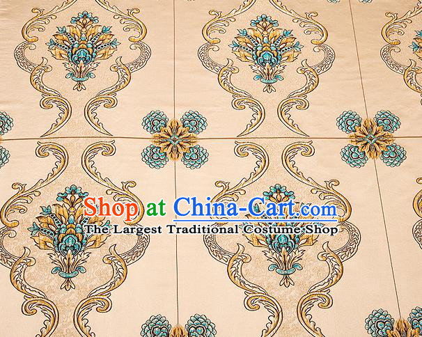 Top Grade Classical Flowers Pattern Golden Brocade Chinese Traditional Garment Fabric Cushion Satin Material Drapery