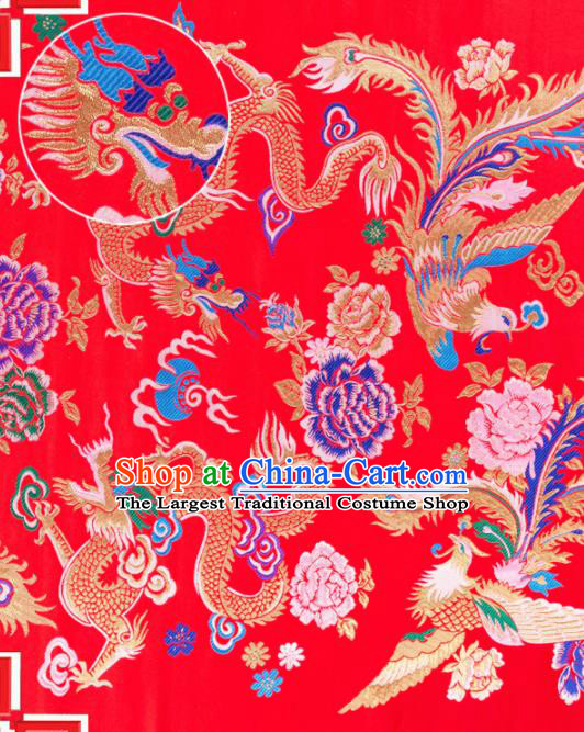 Top Grade Classical Dragon Phoenix Pattern Red Nanjing Brocade Chinese Traditional Garment Fabric Tang Suit Satin Material Drapery