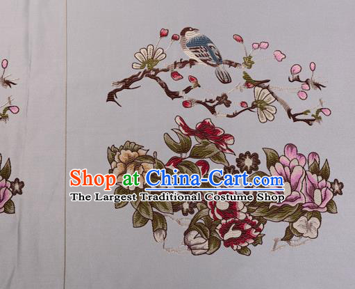 Top Grade Classical Peony Pattern Blue Silk Brocade Chinese Traditional Garment Fabric Cushion Satin Material Drapery