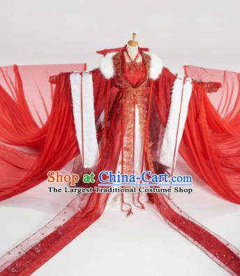 Chinese Ancient Cosplay Peri Red Costumes Traditional Bride Embroidered Hanfu Dress for Women