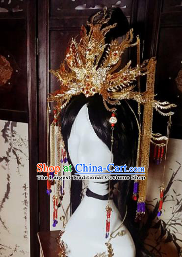 Chinese Handmade Ancient Princess Hair Accessories Bride Phoenix Coronet Hairpins Headwear for Women