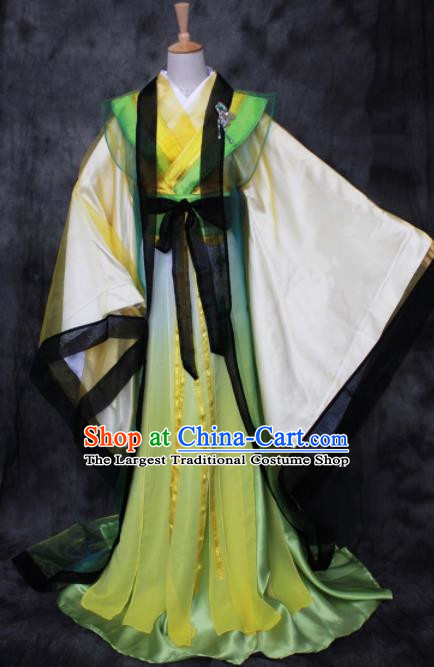 Asian Chinese Ancient Prince Yellow Costumes Traditional Cosplay Nobility Childe Hanfu Clothing for Men