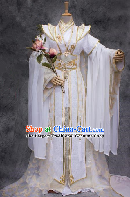 Chinese Ancient Prince White Costumes Traditional Cosplay Nobility Childe Hanfu Clothing for Men