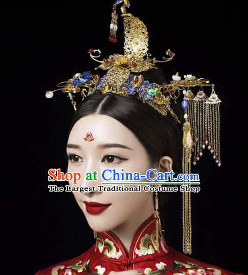 Chinese Traditional Queen Cloisonne Phoenix Coronet Hairpins Ancient Handmade Xiuhe Suit Hair Accessories for Women