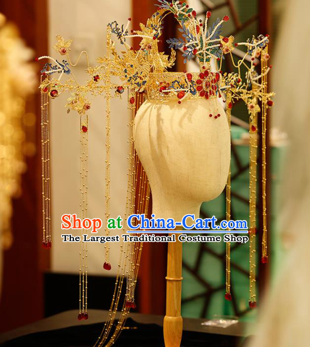 Chinese Traditional Xiuhe Suit Handmade Phoenix Coronet Ancient Queen Hairpins Hair Accessories for Women