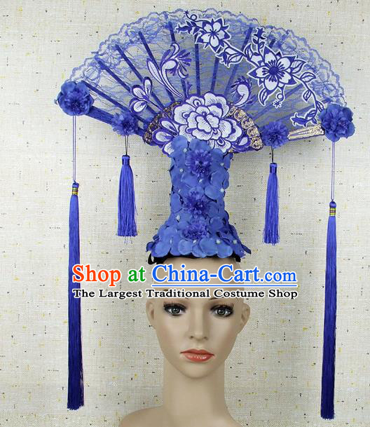 Top Grade Chinese Handmade Blue Lace Headdress Traditional Hair Accessories for Women