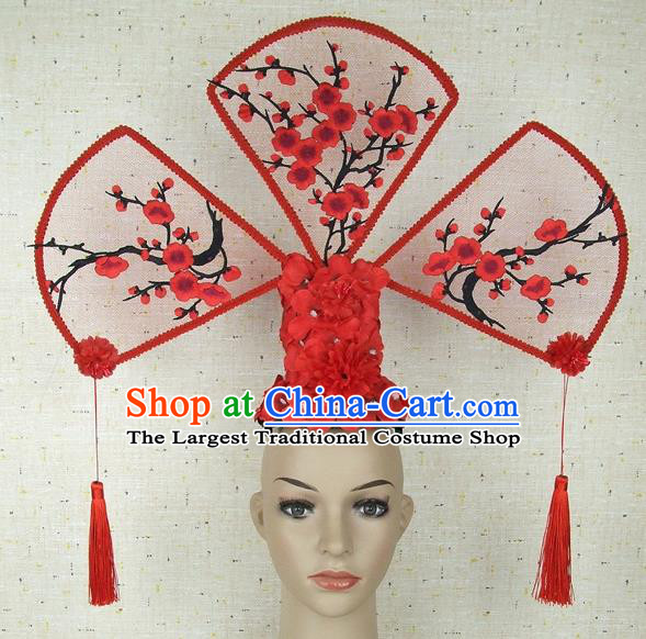 Top Grade Chinese Handmade Red Plum Blossom Headdress Traditional Hair Accessories for Women