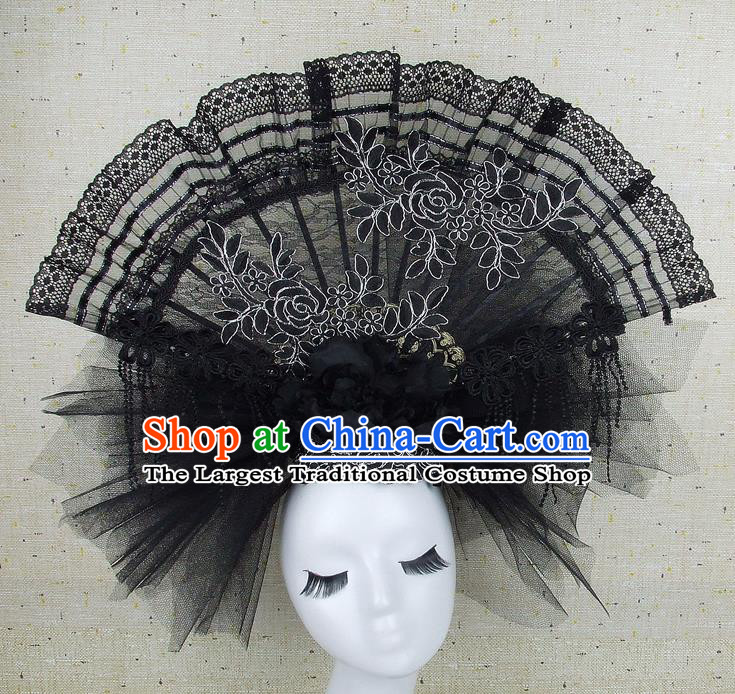 Top Grade Handmade Chinese Black Lace Palace Hair Clasp Traditional Hair Accessories Headdress for Women