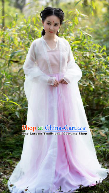 Asian Chinese Ancient Palace Lady Costumes Traditional Peri Princess Hanfu Dress for Women