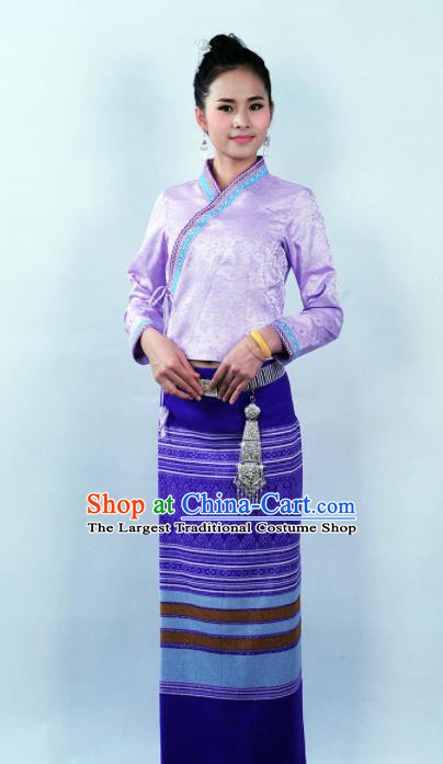Asian Chinese Ethnic Costumes Traditional Dai Nationality Folk Dance Purple Blouse and Skirt for Women