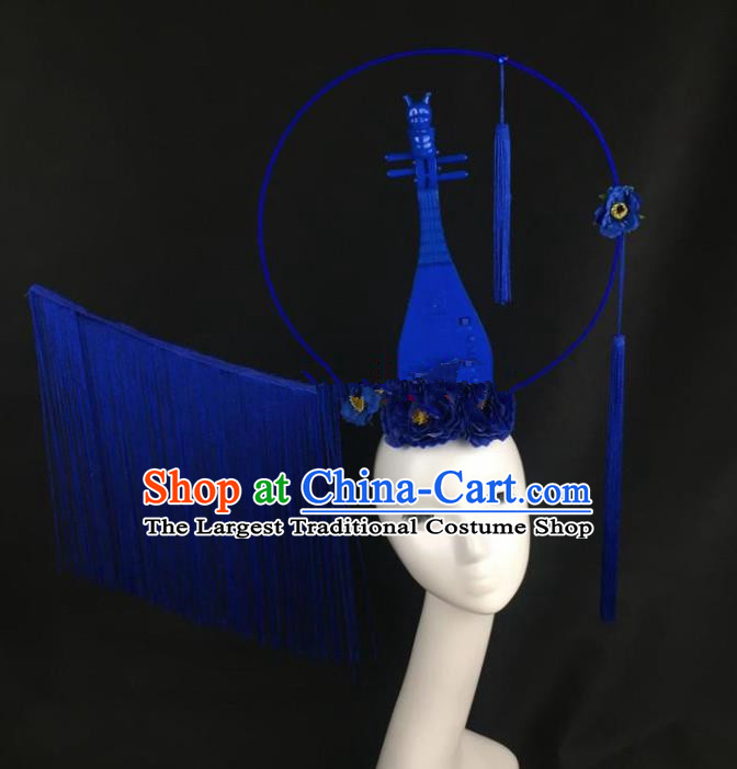 Chinese Traditional Exaggerated Headdress Palace Catwalks Blue Lute Hair Accessories for Women