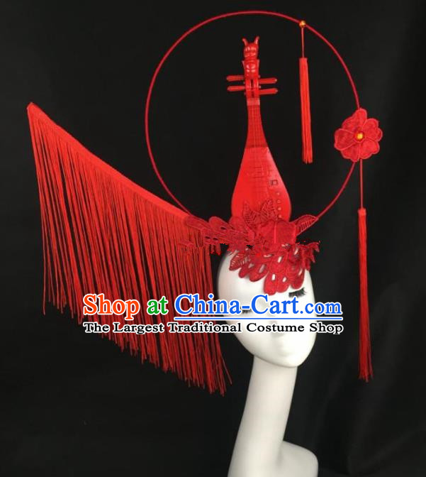 Chinese Traditional Exaggerated Headdress Palace Catwalks Red Lace Lute Hair Accessories for Women