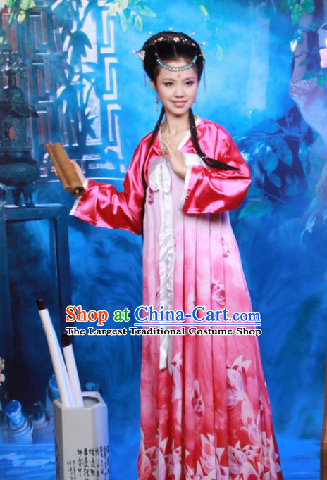 Chinese Ancient Peri Goddess Costumes Traditional Tang Dynasty Princess Hanfu Dress for Women