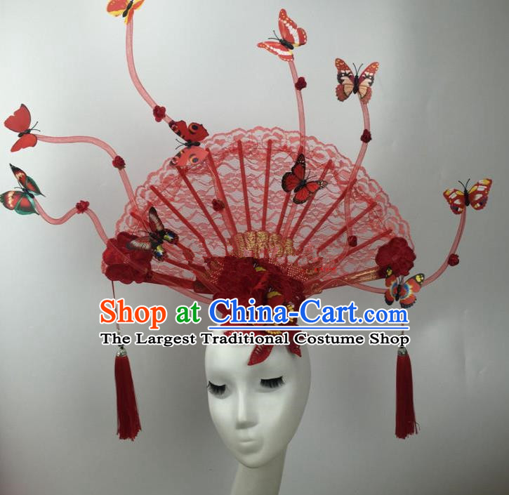 Chinese Traditional Catwalks Exaggerated Red Lace Butterfly Headdress Palace Hair Accessories for Women