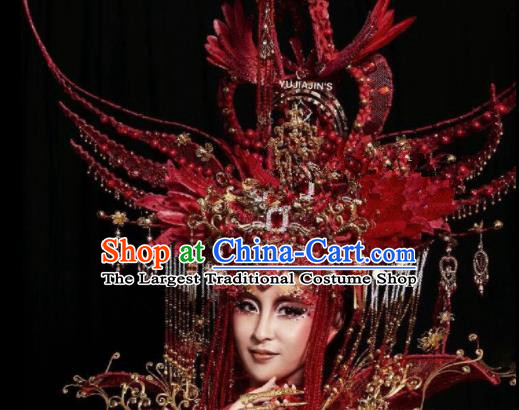 Chinese Traditional Ancient Bride Red Headdress Palace Wedding Phoenix Coronet Hair Accessories for Women