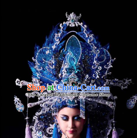 Chinese Traditional Ancient Bride Blue Headdress Palace Wedding Phoenix Coronet Hair Accessories for Women
