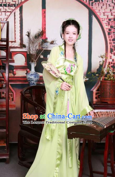 Ancient Chinese Peri Green Costumes Traditional Tang Dynasty Palace Princess Hanfu Dress for Women