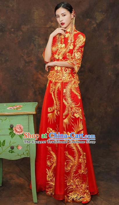 Chinese Traditional Wedding Costumes Ancient Bride Embroidered Red Xiuhe Suits for Women