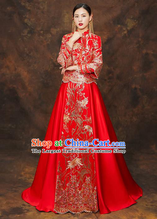 Chinese Traditional Wedding Costumes Ancient Bride Embroidered Xiuhe Suits for Women