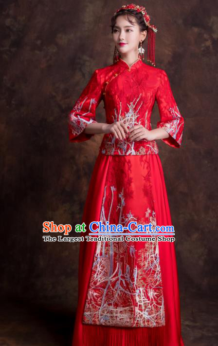 Chinese Traditional Bride Xiuhe Suits Ancient Embroidered Wedding Dress for Women