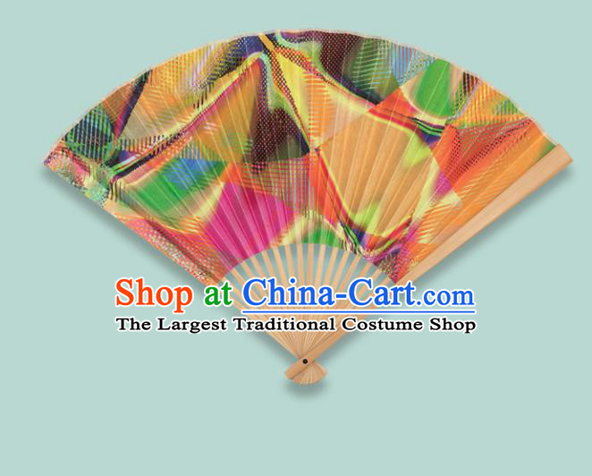 Chinese Traditional Crafts Orange Folding Fans Paper Fans Accordion Fan