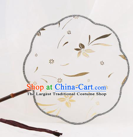 Traditional Chinese Crafts Palace Fans Round Fans Ancient Princess Gilding Silk Fan for Women