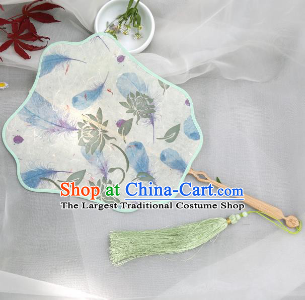 Traditional Chinese Crafts Palace Fans Printing Lotus Fans Ancient Silk Fan for Women